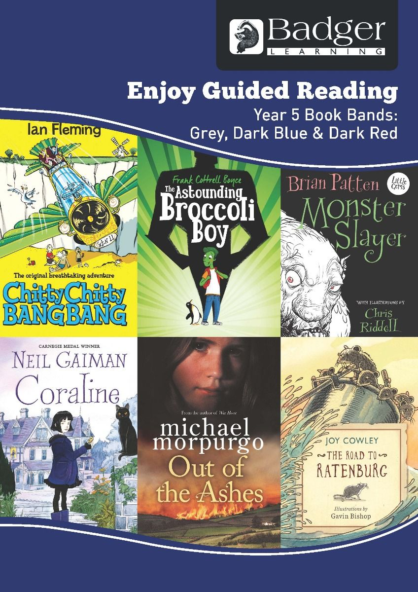 Enjoy Guided Reading KS2 Book Bands: Year 5 Grey, Dark Blue & Dark Red Teacher Book & CD Badger Learning