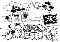 Badger Learning Pirate Colouring Sheet