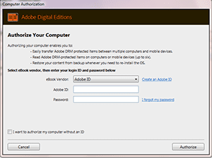 Authorise Your Computer - Adobe Editions